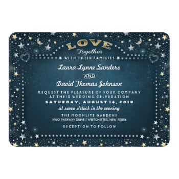 """Teal White & Gold Moon & Stars """"together With"""" 5x7 Paper Invitation Card by juliea2010 at Zazzle"""