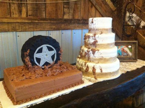 """Bride (burlap) and Groom cakes   Jeep, """"mud riding""""   A"""