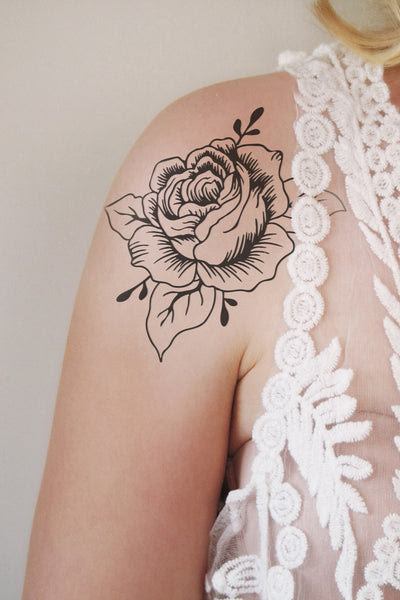 Large Black And White Rose Temporary Tattoo Temporary Tattoos By