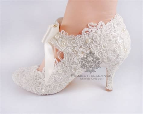 WOMENS NEW IVORY PEARL VINTAGE LACE CLOSE TOE MID HIGH