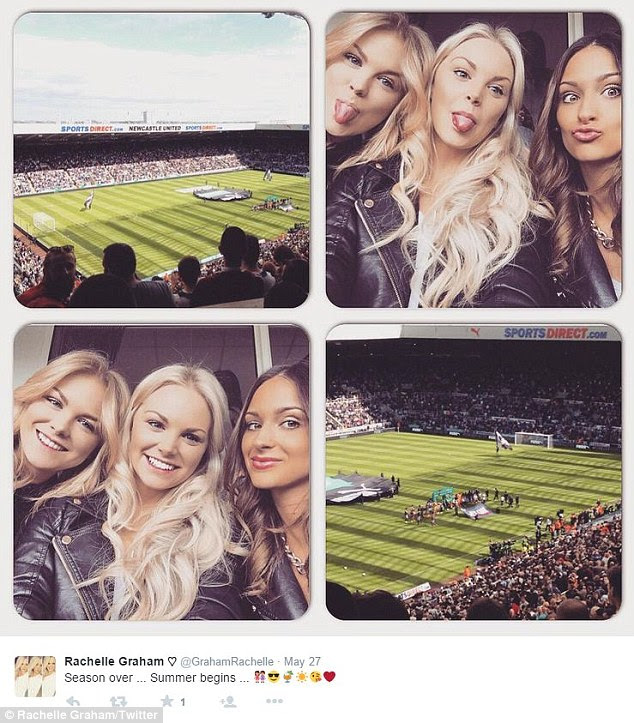 Fan: The model, pictured at St James Park with friends last week, is also a huge Newcastle United fan and believed she would have a future with the club's star striker
