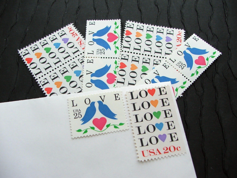 Love Birds Blue .. UNused Vintage Postage Stamps  .. post 25 letters