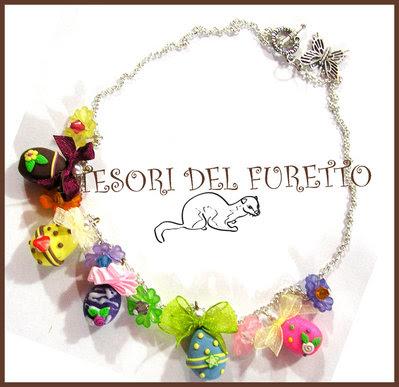 "Collana ""Ovetti pasqua!"" uova pasqua cernit kawaii fimo bijoux charm cioccolata"
