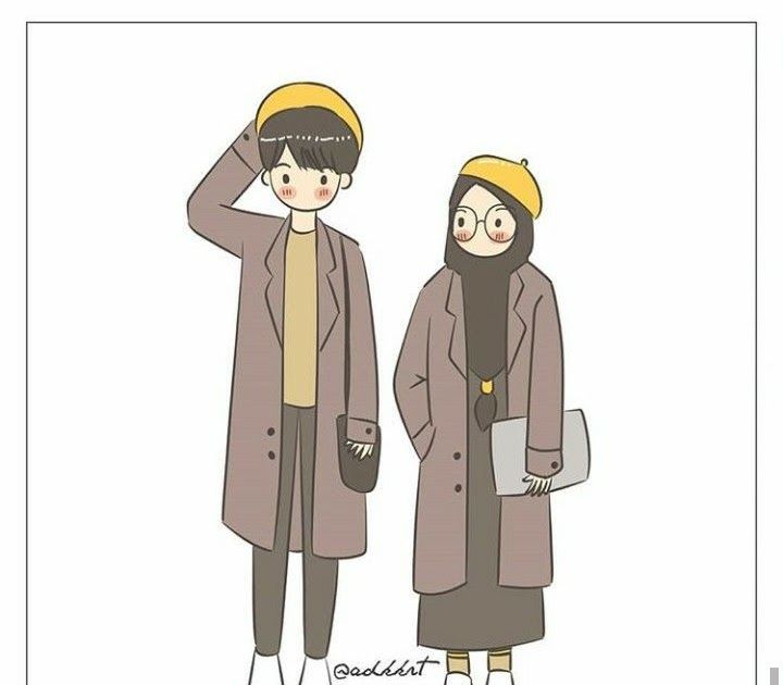 16 Gambar Kartun Muslimah Berpasangan Gambar Kartun Ku