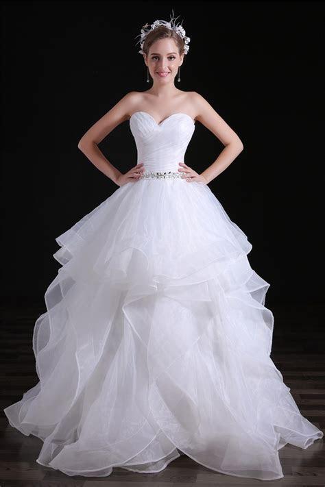 Romantic Ball Gown Sweetheart Organza Ruffle Layered