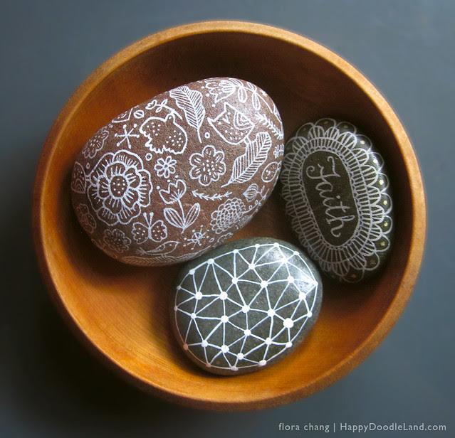 3 Rocks in a Wooden Bowl