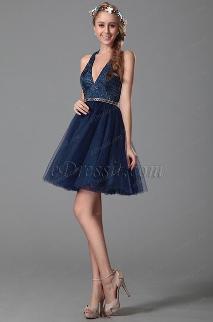 Sexy V Cut Halter Neck Homecoming Dress Party Dress