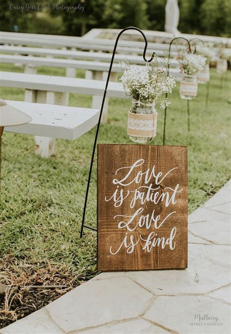 1 Corinthians 13 Aisle Signs, Hand Painted Wooden Wedding