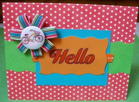 Hello Bicycle Greeting Card with Ribbon Flower