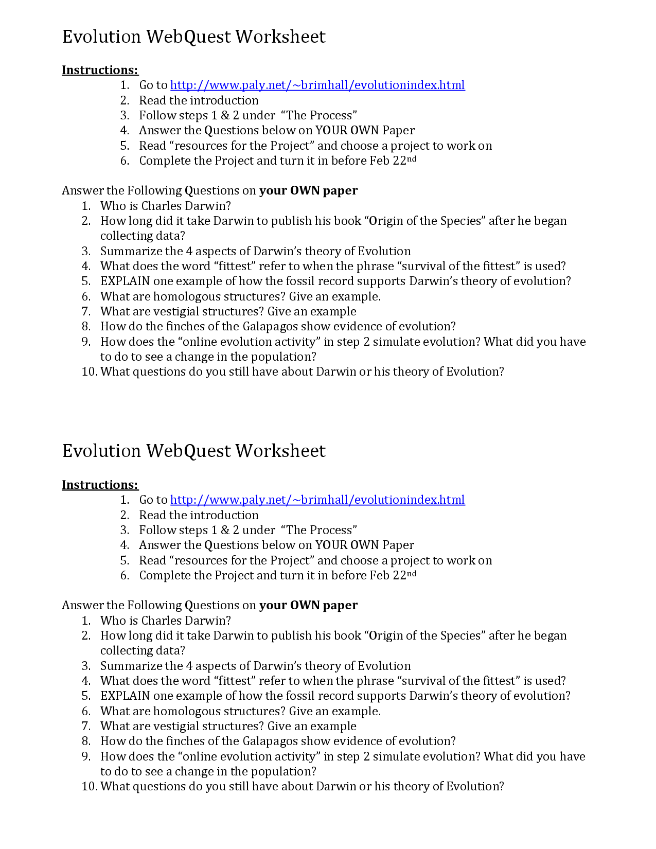 16 Best Images of Evidence Of Evolution Worksheet Answers  Evidence of Evolution Worksheet
