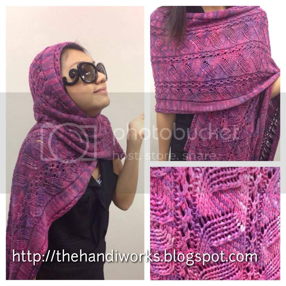 hand knitted vareigated faux cabled lace summer shawl