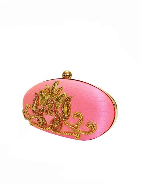 tresclassy candy pink oval clutch shop bags