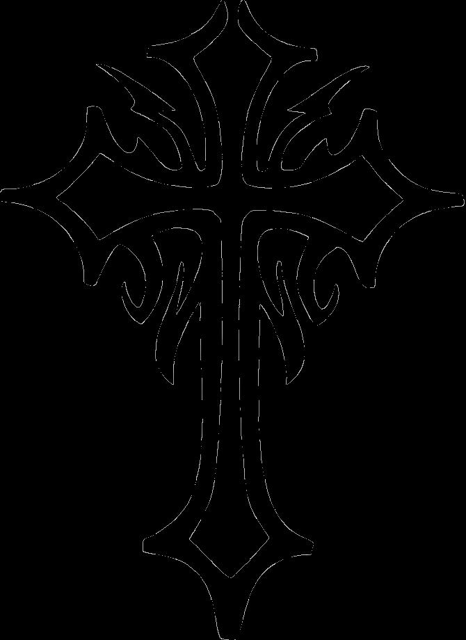 Black Ink Tribal Cross Tattoo Design