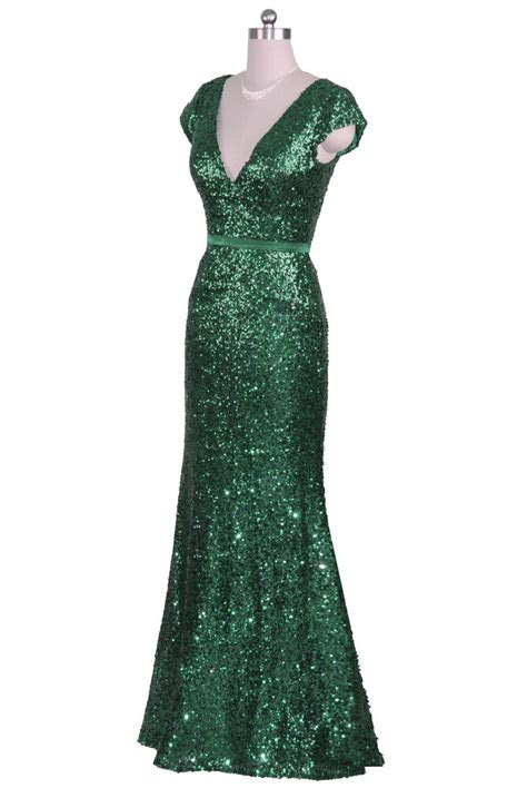 emerald green sequin  neck cap sleeve long prom evening
