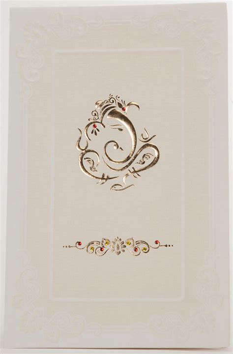 Indian Wedding Card In Cream With Golden Ganesha Design