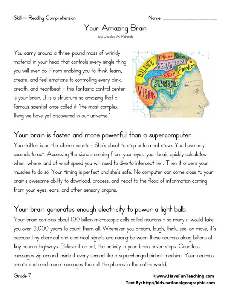 Reading Prehension Worksheet Your Amazing Brain