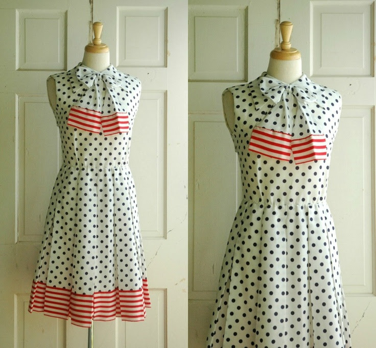 60s Polka Dot Dress / Vintage Red White Blue
