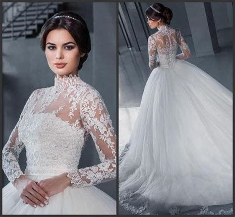 Elegant High Neck Wedding Dresses With Wrap A Line 2016