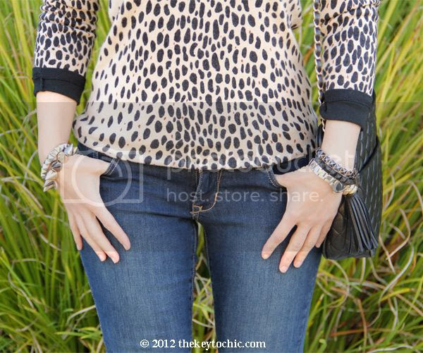 J Crew animal print sweater, Old Navy super skinny jeans, Los Angeles fashion blog