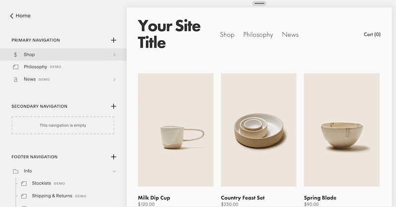 Squarespace drag-and-drop online store builder