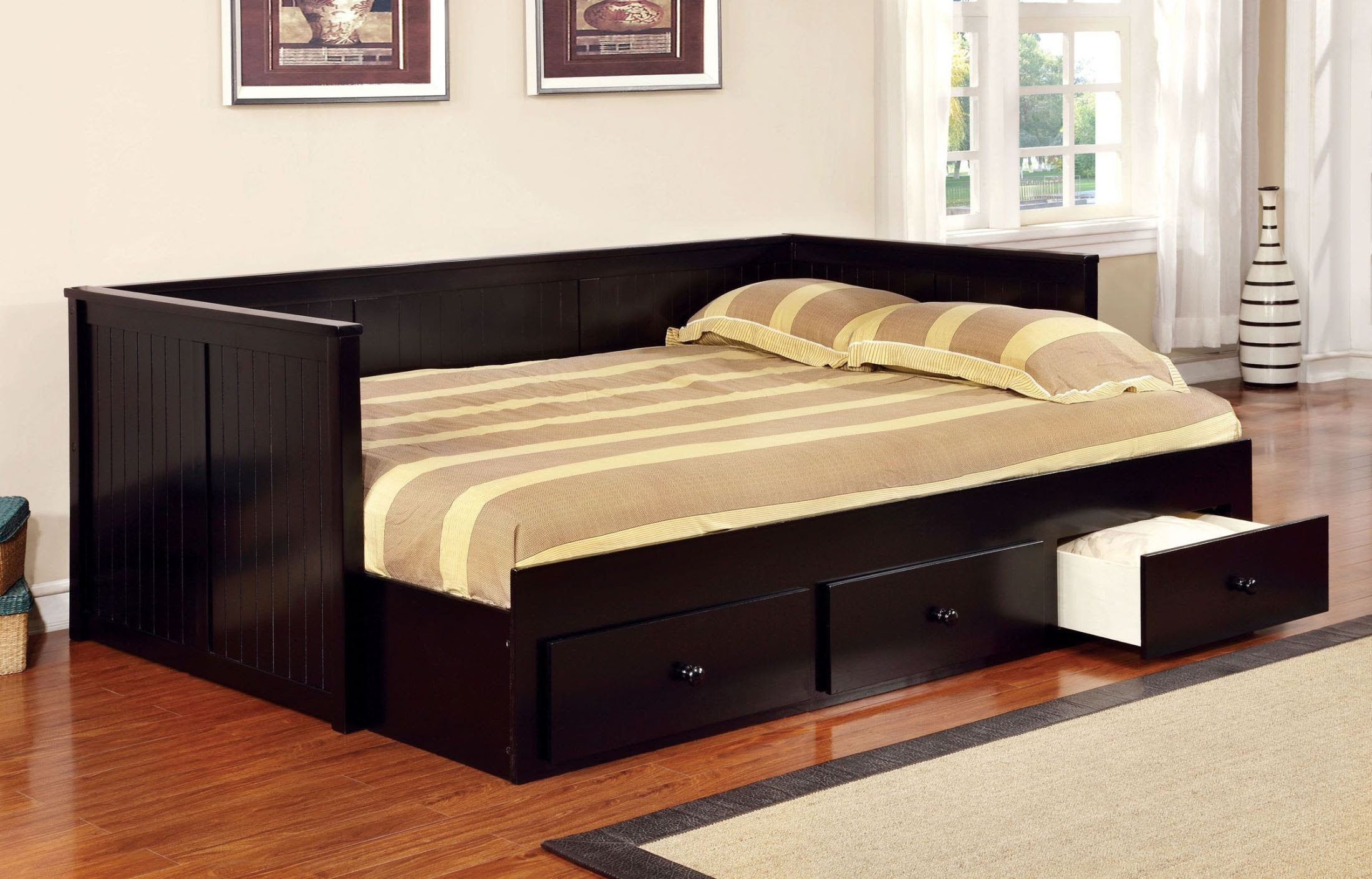 Wolford Black Full Size Storage Daybed from Furniture of ...
