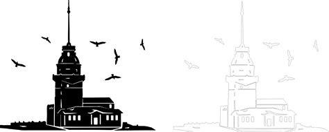 kiz kulesi silhouette vector  vector cdr