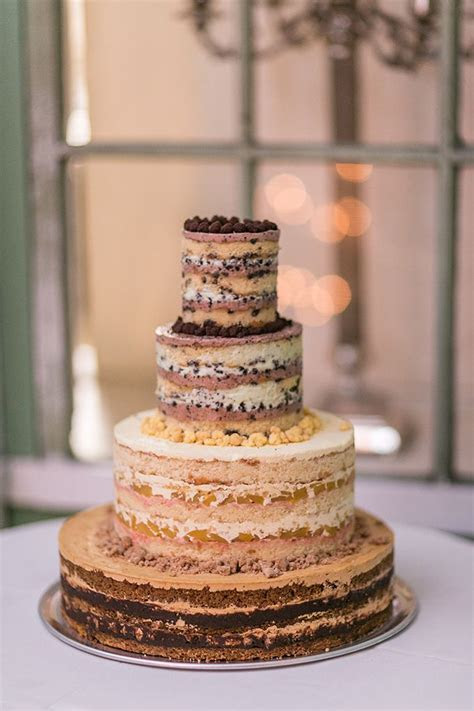 Walnut naked wedding cake