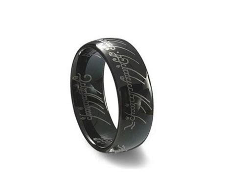 Black Tungsten Ring Lord Of The Rings Mens Wedding Band