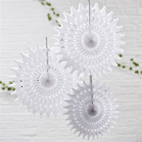 white tissue paper hanging fan wedding decorations by