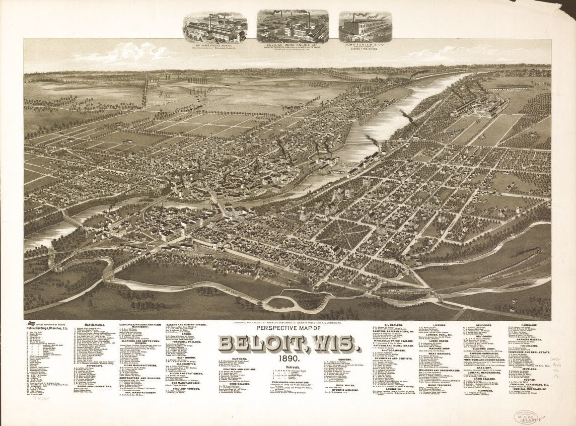 Perspective Map Of Beloit Wis 1890 Library Of Congress