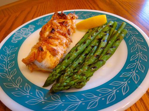 Crispy Onion Chicken and Asparagus