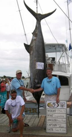 Inspiration captain Casey Wagner, Morehead City, and angler Bruce Brown, Nags Head, grabbed the Big Rock lead with a 754.3 pound blue marlin on Monday, June 9, 2014. (Photo: Big Rock Blue Marlin Tournament)