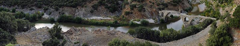 File:20100923 Kompsatos Bridge Polyanthos Rhodope Thrace Greece Panorama.jpg