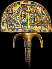 Fan: A gilded wooden fan found in Tutankhamun's burial chamber. The fan was a symbol of kingship and depicts Tut's rule over Upper and Lower Egypt. From Science Museum of Minnesota, used w/o permission.