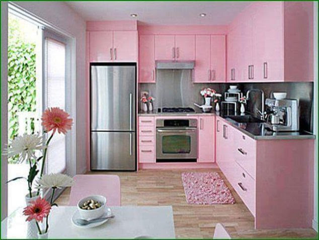 14 Dream Designed Small Kitchen in Pink Color That Will ...
