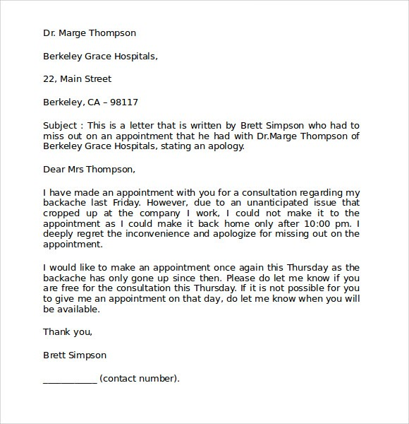 90 INFO APOLOGY LETTER MISSING APPOINTMENT WITH VIDEO TUTORIAL