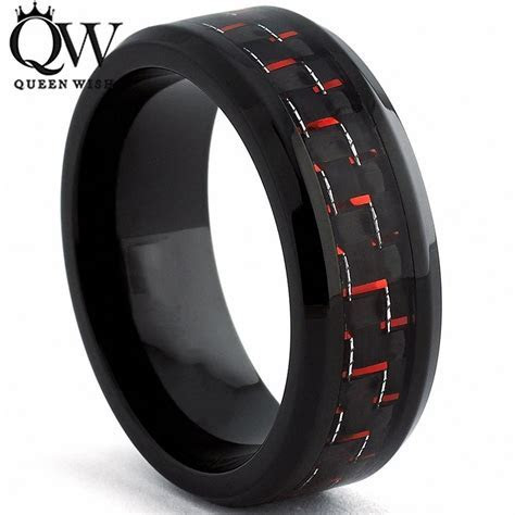 Queenwish Engagement Rings for Men 8mm Black Tungsten Ring