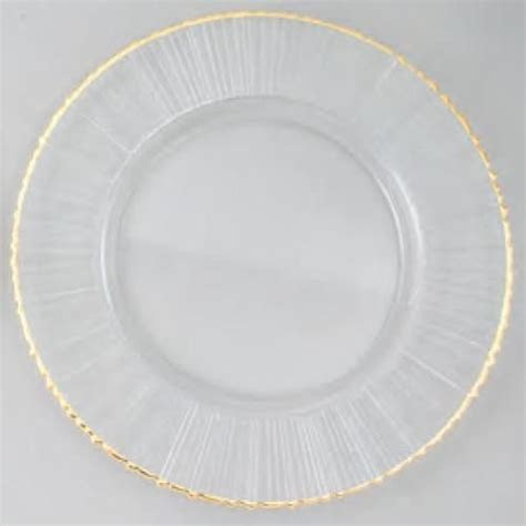 Glass Charger Plate with Gold Rim Ray Design   Case of 8
