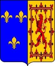 Variante des armes que porta Marie Stuart, reine d'Ecosse, en tant que reine de France après la paix d'Edimbourg