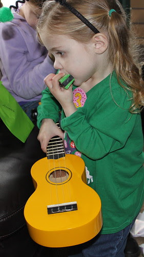 Amelia with her new instruments