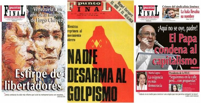 Algunas de las portadas de la revista Punto Final.