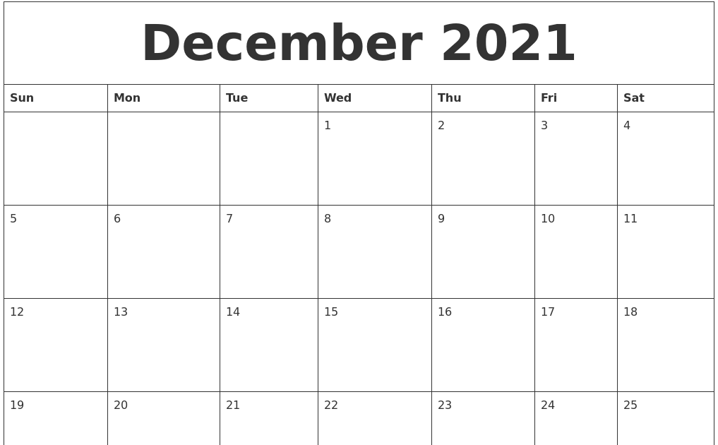 Printable December 2021 Calendar Page | 2021 Calendar