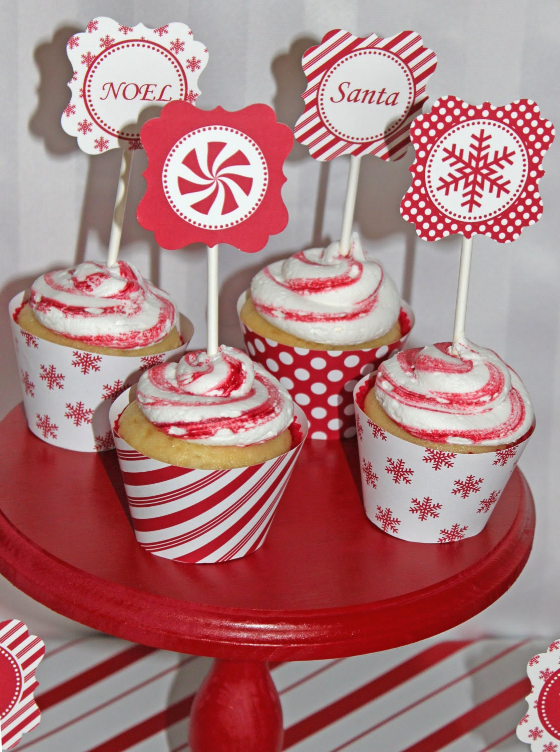 SALE DIY Christmas Holiday candy cane  snowflakes  Printable Party Circles 2in cupcake toppers  red white
