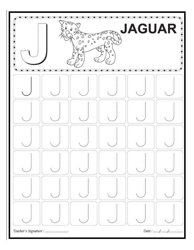 J Is For Jaguar Worksheet Preschool And Kindergarten And