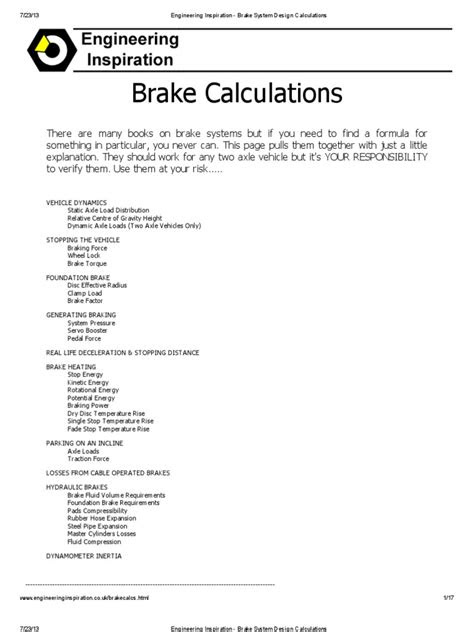 Engineering Inspiration - Brake System Design Calculations