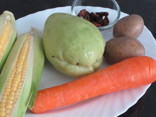 Chayote and Sweet corn soup