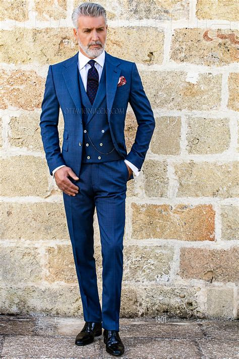 blue prince  wales notch lapel formal suit