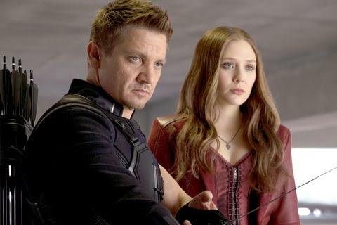 Hawkeye/Clint Barton (Jeremy Renner) and Scarlet Witch/Wanda Maximoff (Elizabeth Olsen) in Marvel's Captain America: Civil War