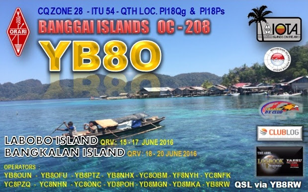 Labobo Island Bangkalan Island Banggai Islands YB8O QSL.