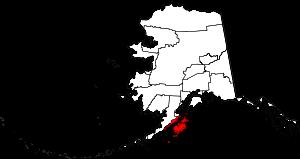 Map of Alaska highlighting Kodiak Island Borough